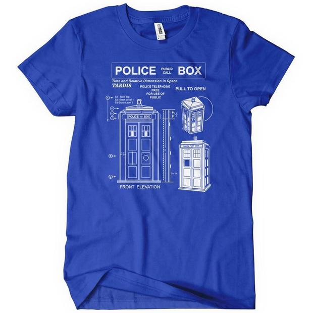Doctor Who Tardis Diagram Blueprint T-Shirt